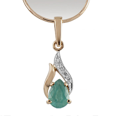 Золотое колье с бриллиантом, изумрудом и цепью золотой арт. 89535 89535