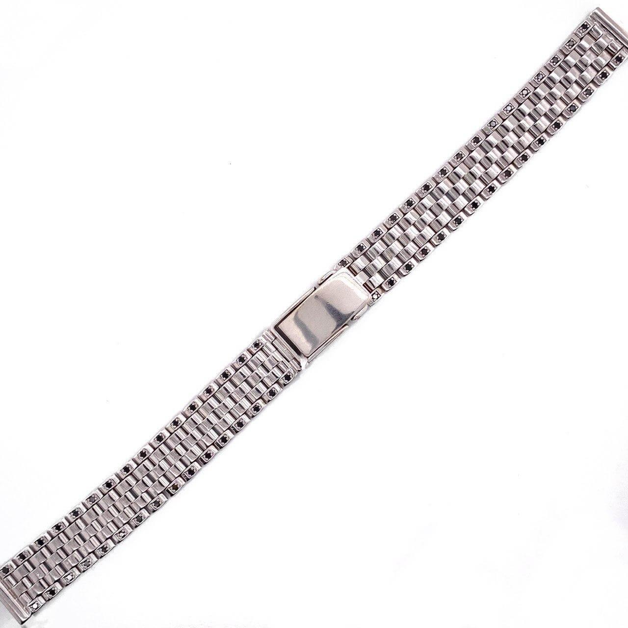 Женский браслет для часов из белого золота с чёрным бриллиантом размер присоединительного ушка 10 арт. 32180114 32180114