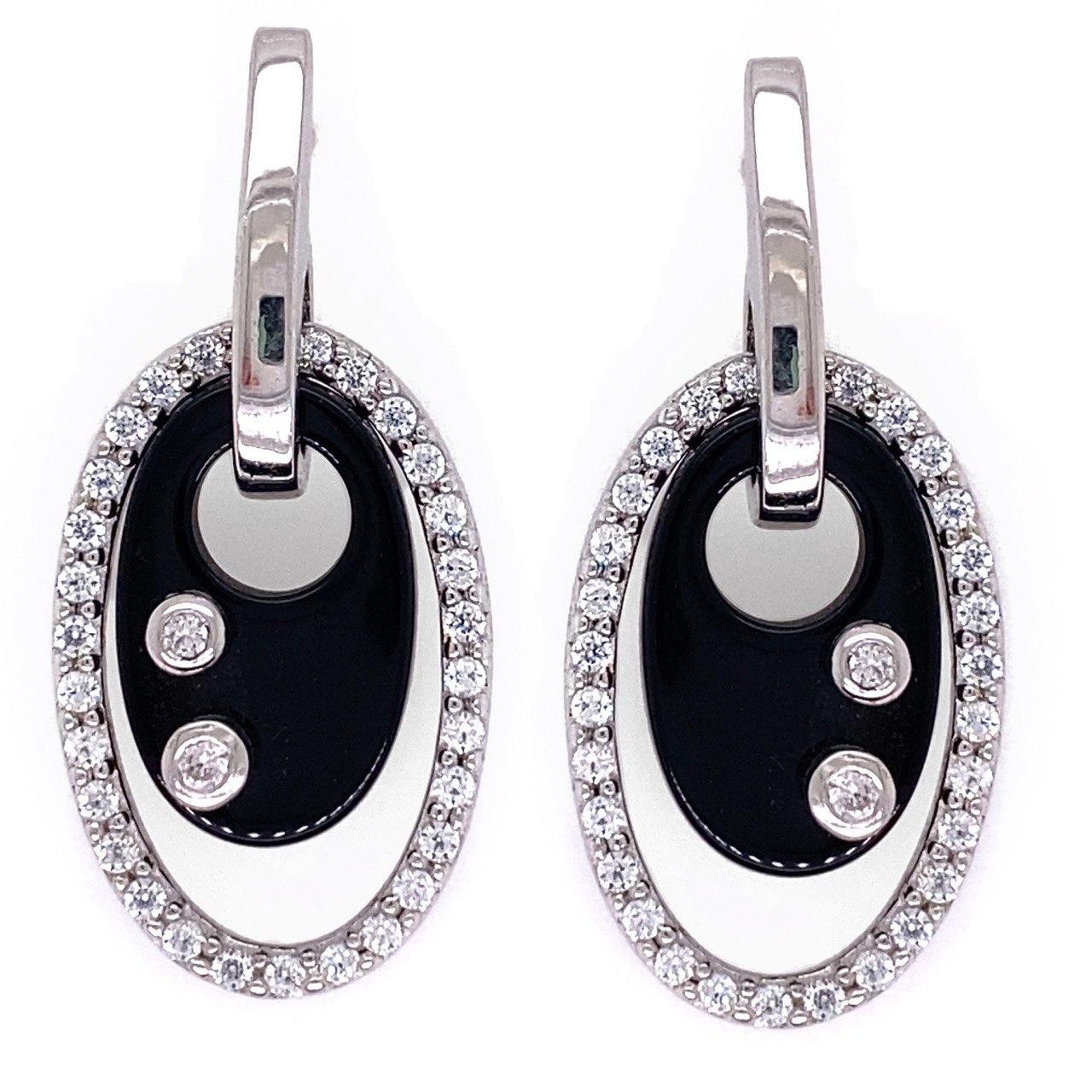 Серебряные серьги с синтетической вставкой и цирконом 937-813