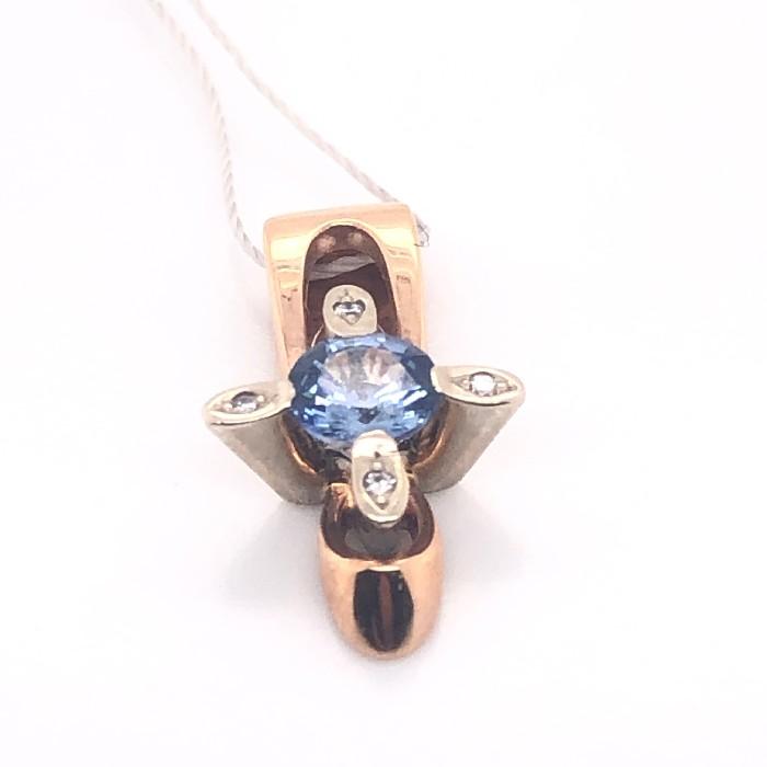 Золотой подвес с бриллиантом и сапфиром арт. 1105807610 1105807610