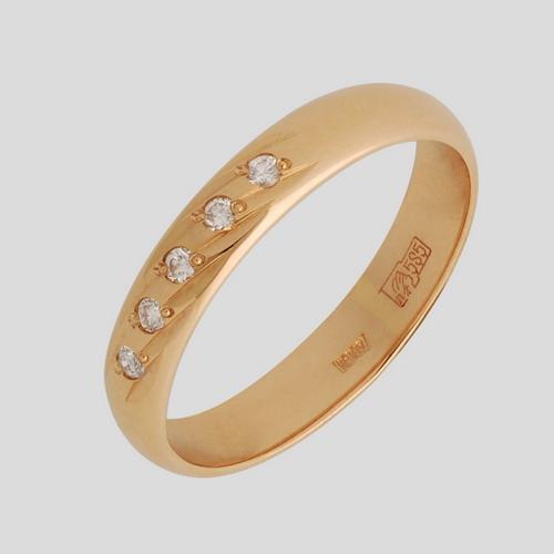 Обручальное кольцо из золота с бриллиантом и изумрудом арт. 100-054 100-054