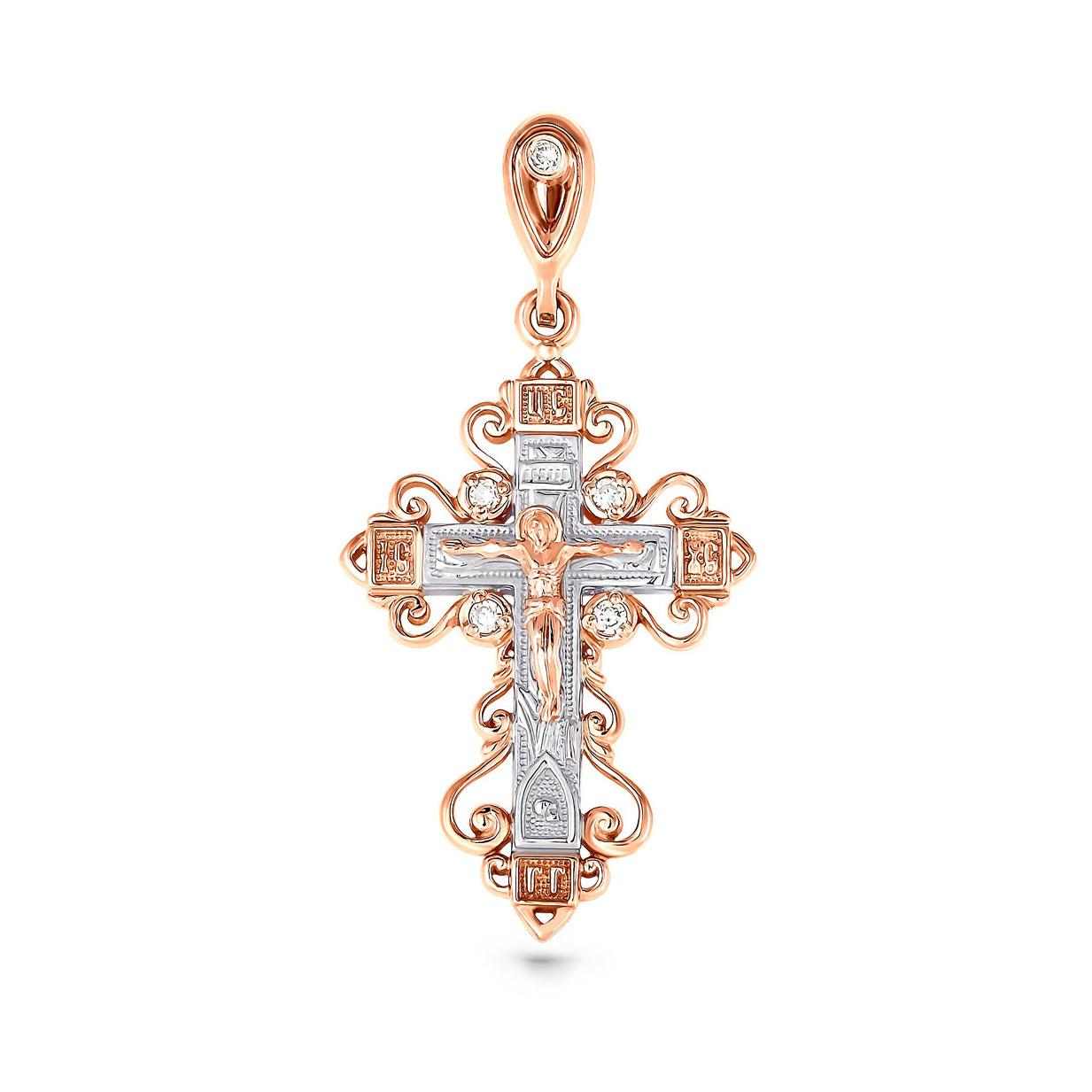 Золотой крест с бриллиантом арт. 3-0045-1000 3-0045-1000