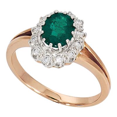 Золотое кольцо Бриллиант и Изумруд арт. 252211ю 252211ю