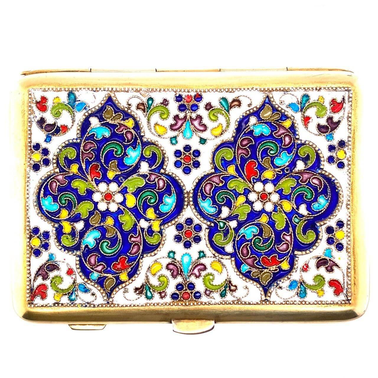 Серебряный портсигар с эмалью арт. 6401ф 6401ф