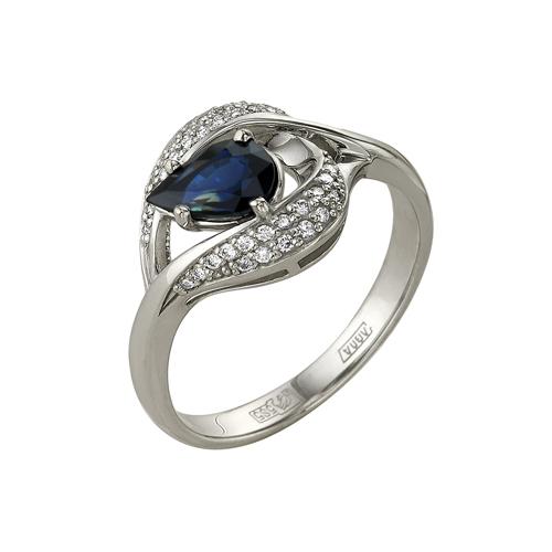 Кольцо из белого золота Бриллиант и Сапфир арт. 1-105-92 1-105-92