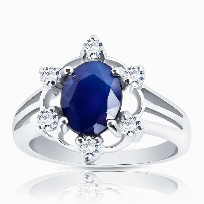 Серебряное кольцо Сапфир и Фианит арт. 00400 00400