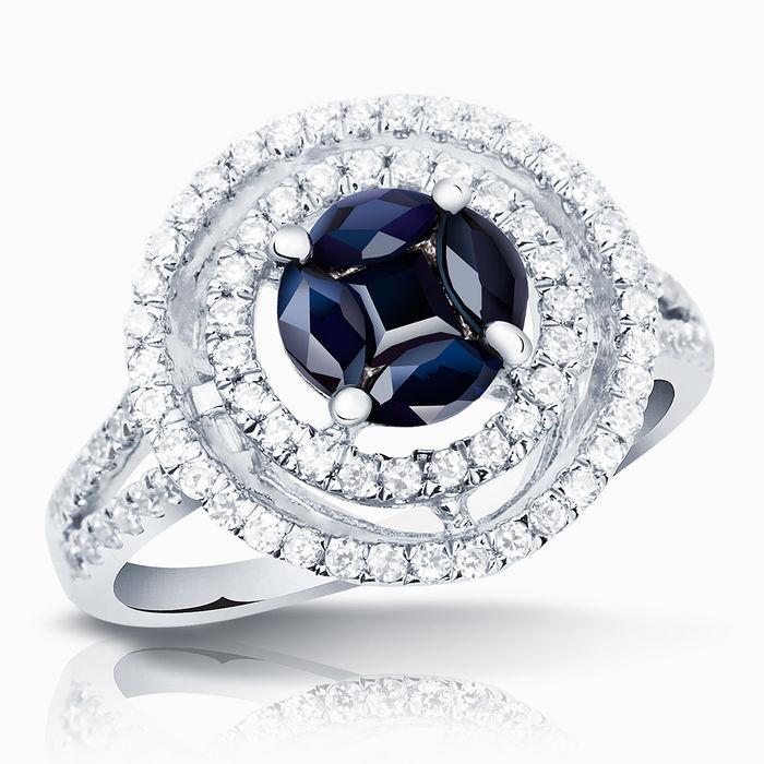 Серебряное кольцо Сапфир и Фианит арт. 01698 01698