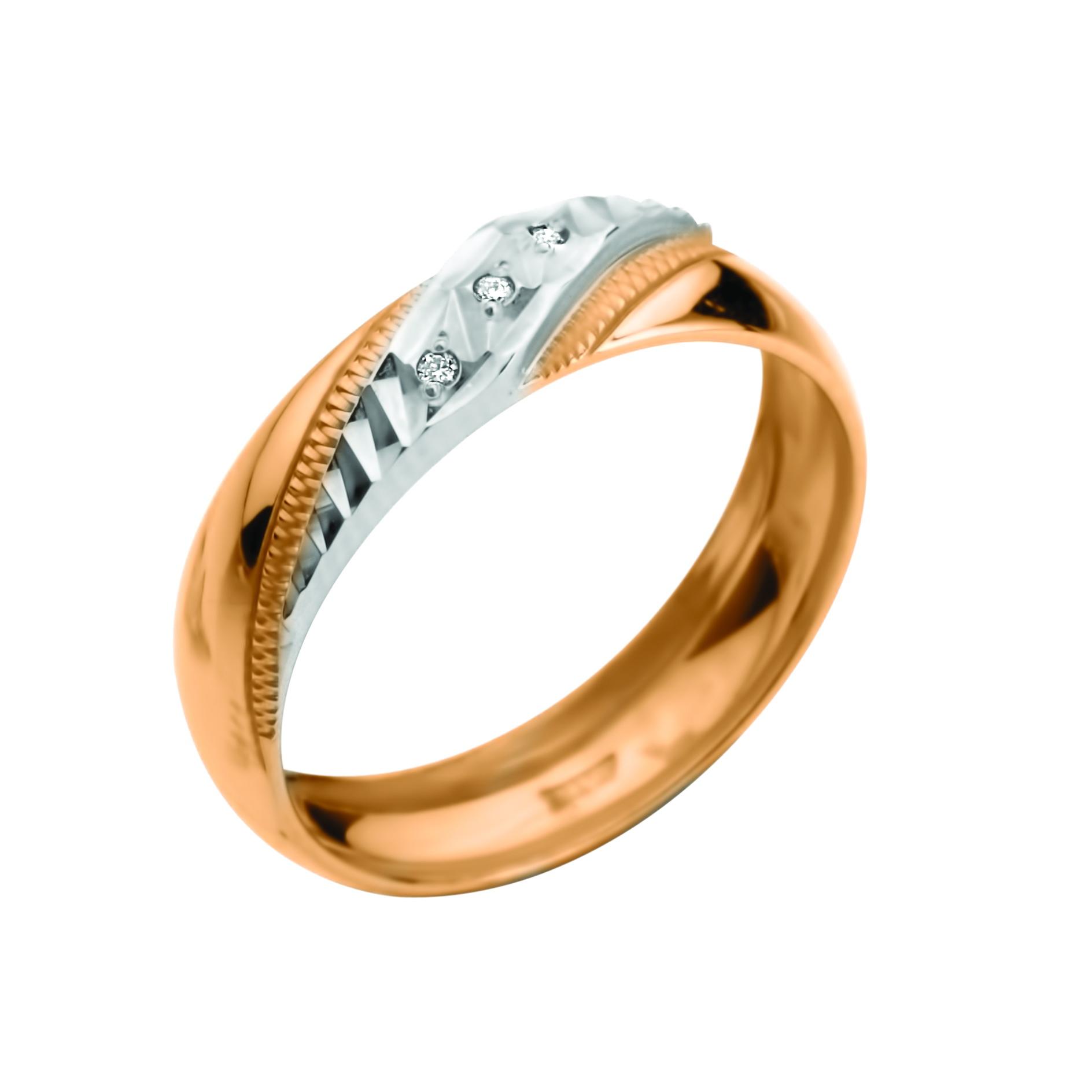Обручальное кольцо из золота с бриллиантом арт. 907-110 907-110