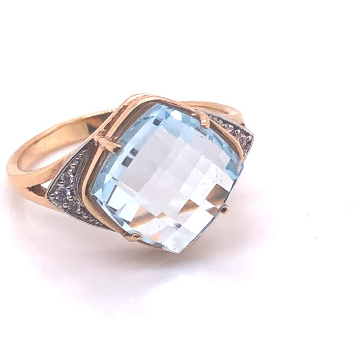 Золотое кольцо Топаз и Фианит арт. 612-0091 612-0091