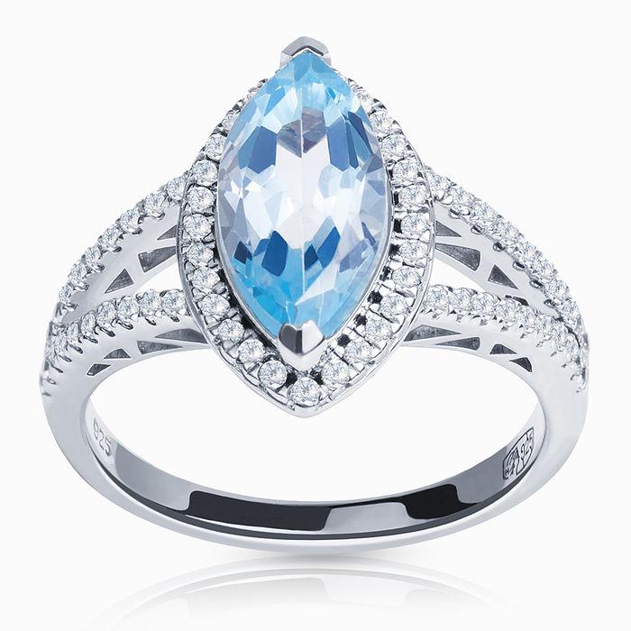 Серебряное кольцо Топаз и Фианит арт. 01722 01722
