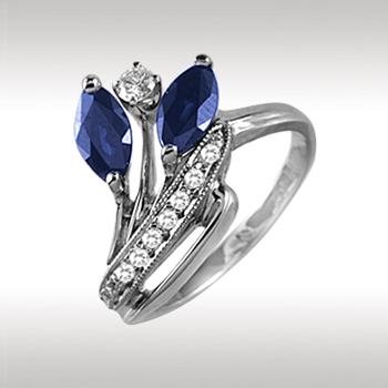 Золотое кольцо Бриллиант и Сапфир арт. 88769-I 88769-I