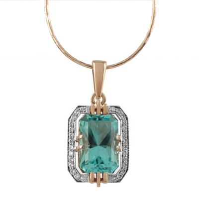 Золотое колье с бриллиантом и гидротермальным изумрудом арт. 89593 89593