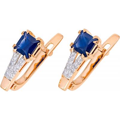 Золотые серьги с бриллиантом и сапфиром арт. 1013552-11140-с 1013552-11140-с