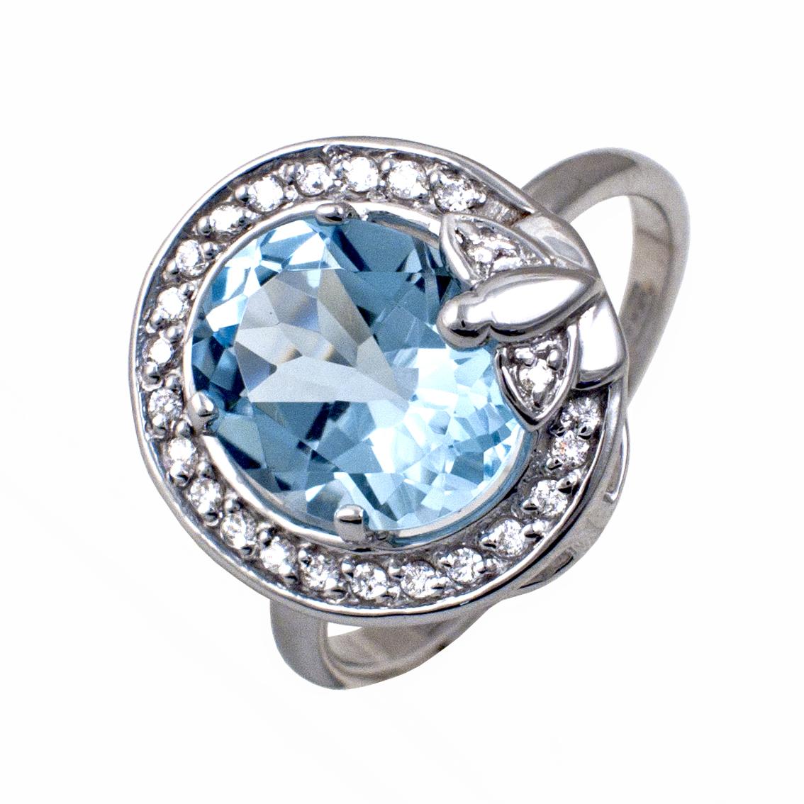 Кольцо из белого золота Бриллиант и Топаз арт. 81621894 81621894