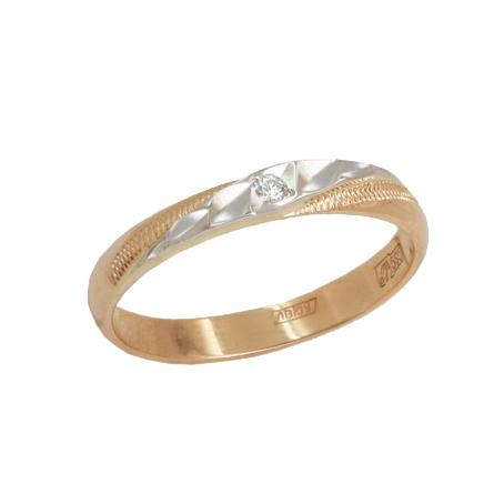 Обручальное кольцо из золота с бриллиантом арт. 100-035 100-035