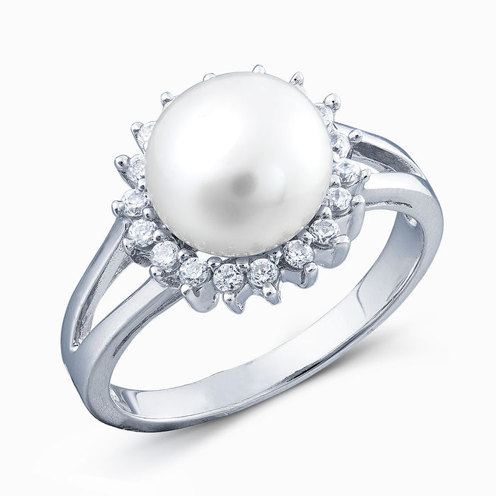 Серебряное кольцо Жемчуг и Фианит арт. 02960 02960