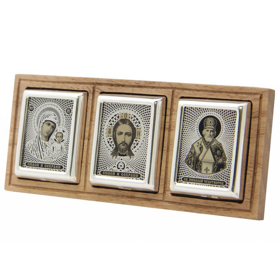 Серебряная икона с деревом, обсидианом и серебром 925 пробы Николай Чудотворец святой арт. дт-05-3с дт-05-3с
