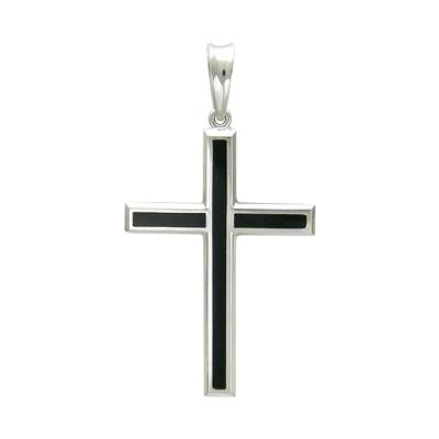 Крест из белого золота с ониксом арт. 01р420458 01р420458