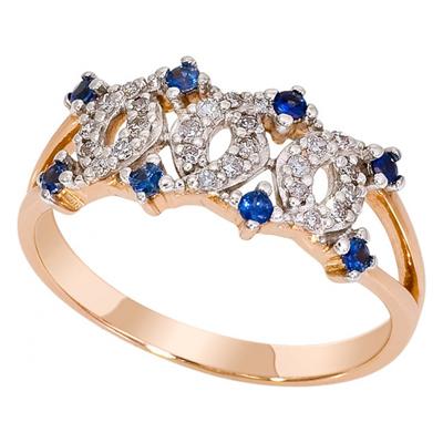 Золотое кольцо Бриллиант и Сапфир арт. 1014911-11141-с 1014911-11141-с