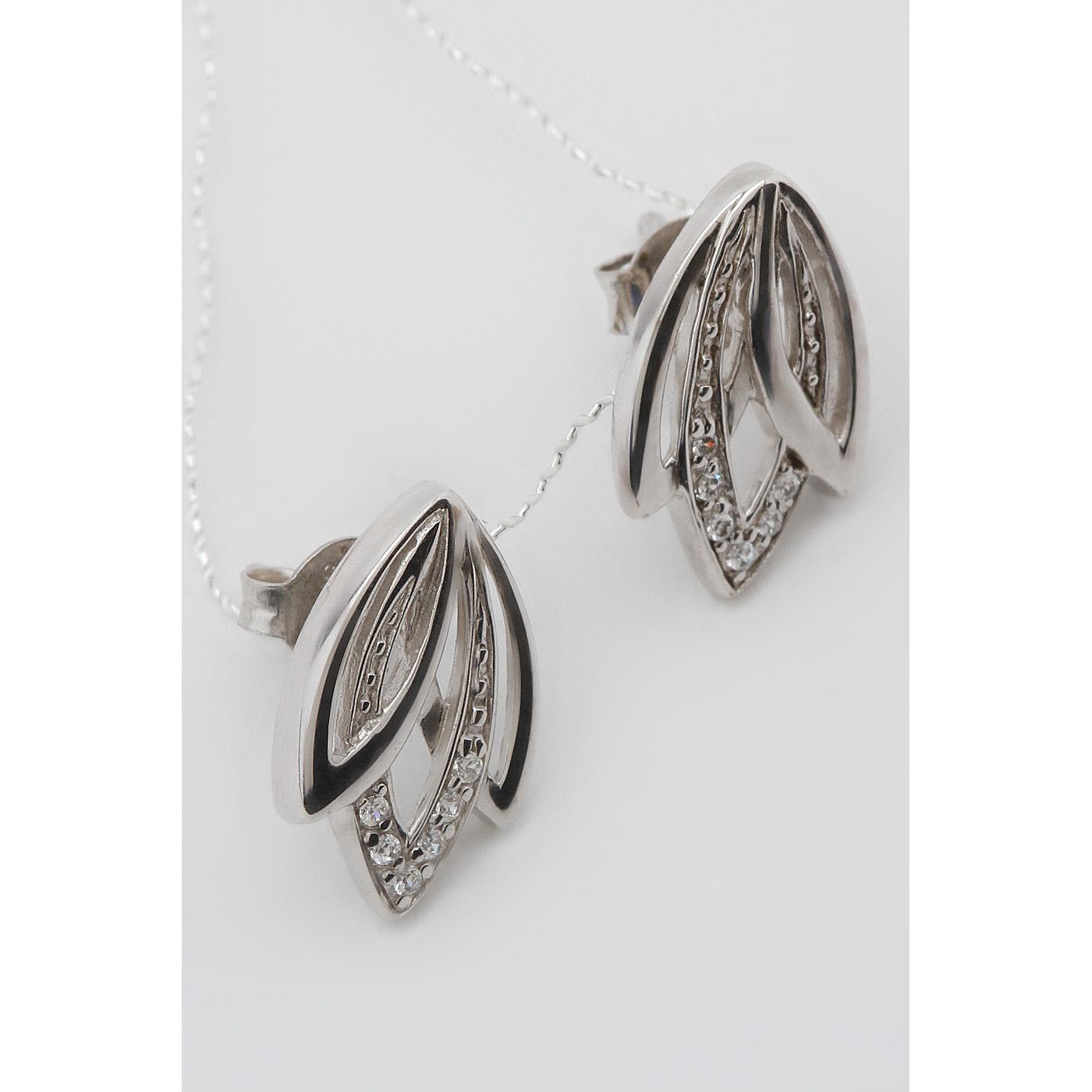 Серьги пусеты из серебра с цирконием арт. 2азе121004 2азе121004