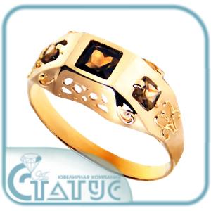 Золотая печатка с дымчатым кварцем Кварц арт. 51-12-725 51-12-725
