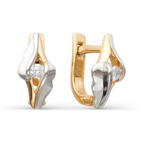 Золотые серьги с бриллиантом арт. 2-105-463 2-105-463