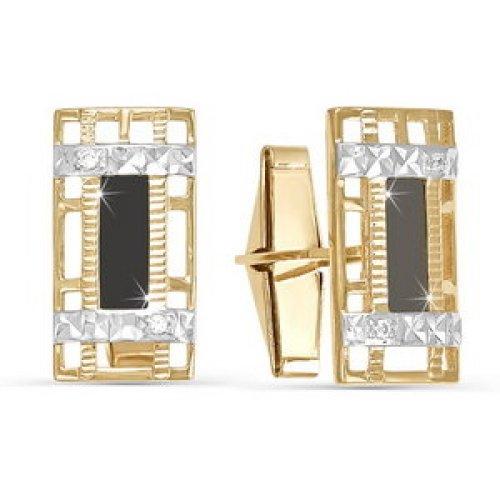 Золотые запонки с фианитом арт. 660022 660022