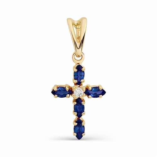 Золотой крест с бриллиантом и изумрудом арт. 3016-101 3016-101