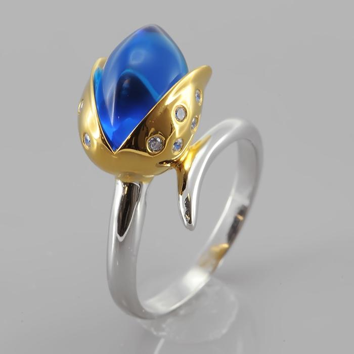 Кольцо серебряное с позолотой Фианит арт. r906734l r906734l
