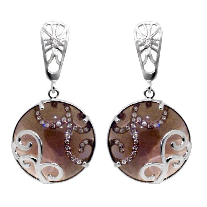 Серьги из белого золота с бриллиантом и раух-топазом арт. 81721851 81721851