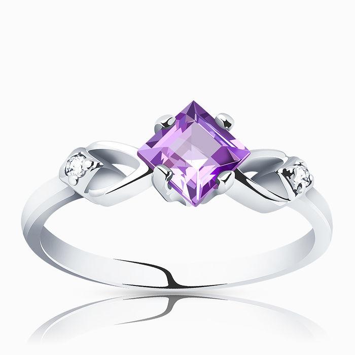 Серебряное кольцо Аметист и Фианит арт. 00143 00143