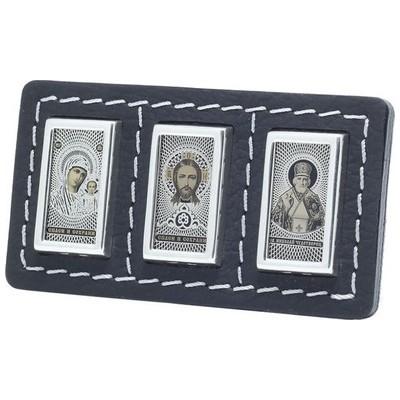 Серебряная икона с кожей, обсидианом и серебром 925 пробы Автоикона арт. ктп-06-3с ктп-06-3с