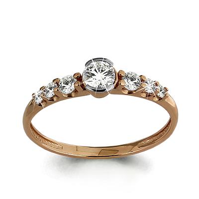 Помолвочное кольцо из золота с кристаллом сваровски и цирконием Кристалл сваровски и Фианит арт. 66105 66105