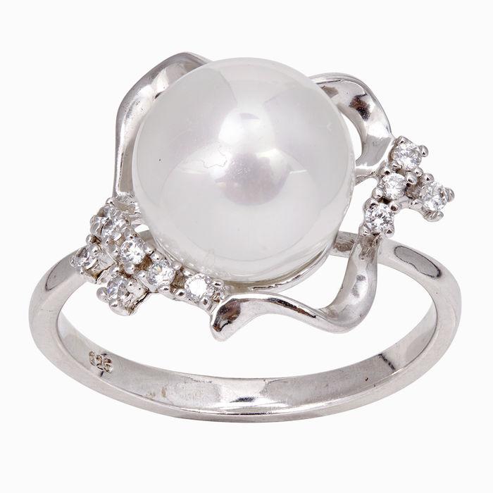 Серебряное кольцо Жемчуг и Фианит арт. 03337 03337