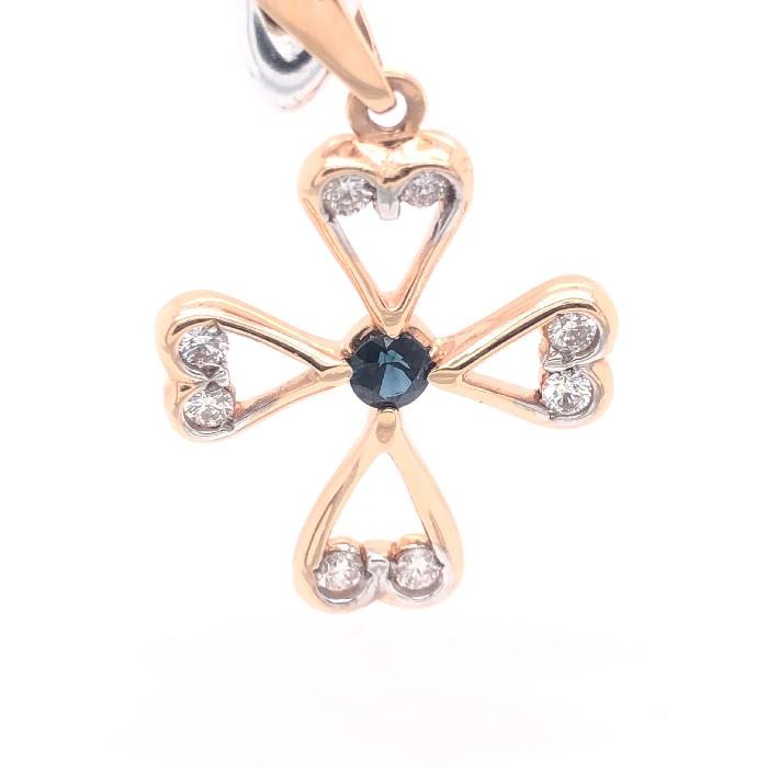 Золотой крест с бриллиантом и сапфиром арт. 53-127п 53-127п
