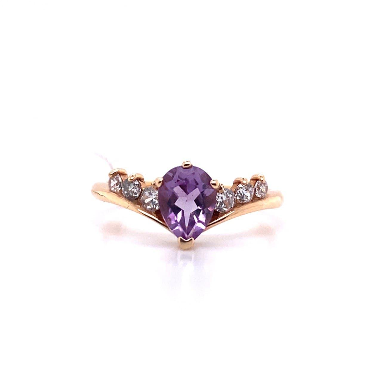 Золотое кольцо Аметист и Фианит арт. 30013А 30013А
