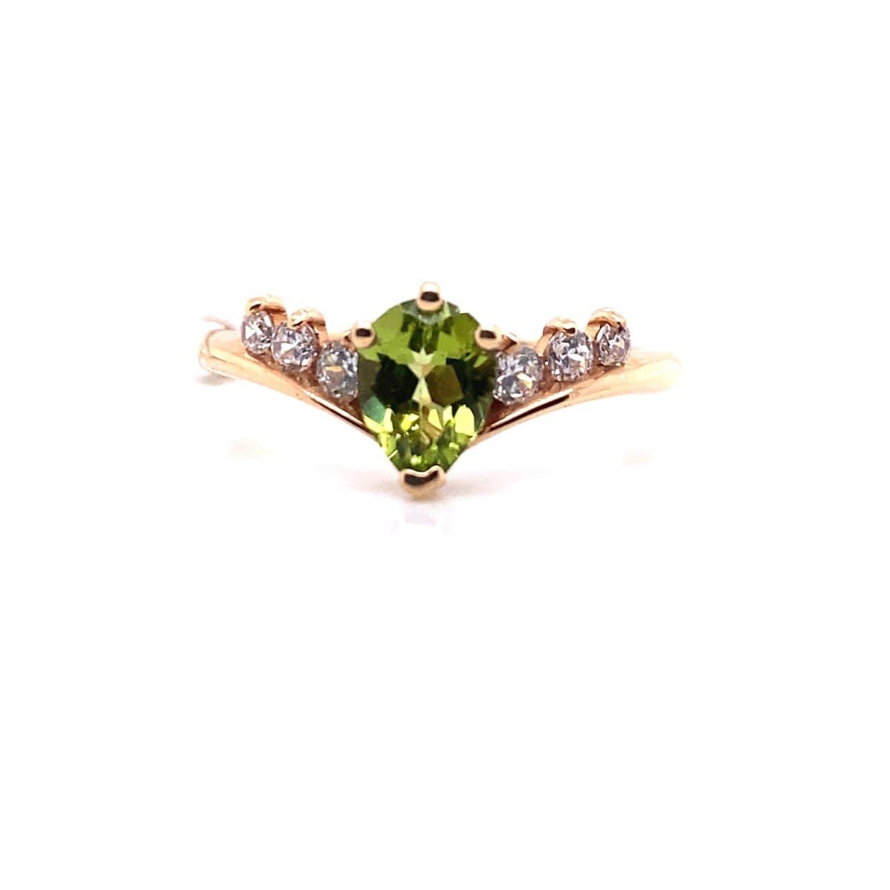 Золотое кольцо Фианит и Хризолит арт. 30013Х 30013Х