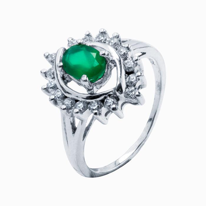 Серебряное кольцо Изумруд и Фианит арт. 05368 05368