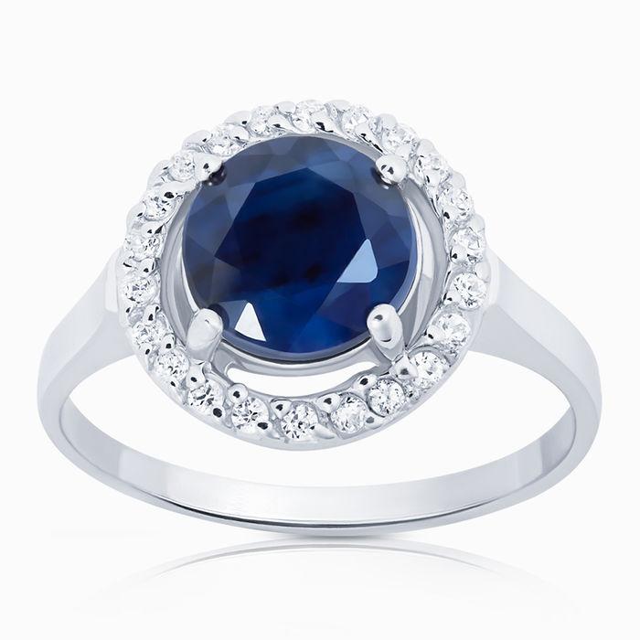 Серебряное кольцо Сапфир и Фианит арт. 00915 00915