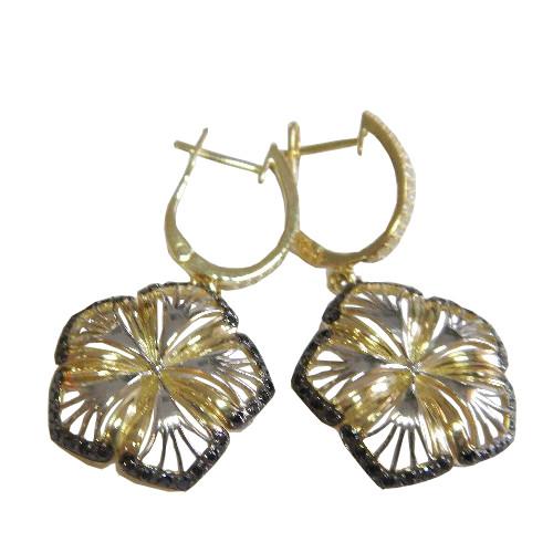 Серьги из лимонного золота с фианитом арт. 2-417 2-417