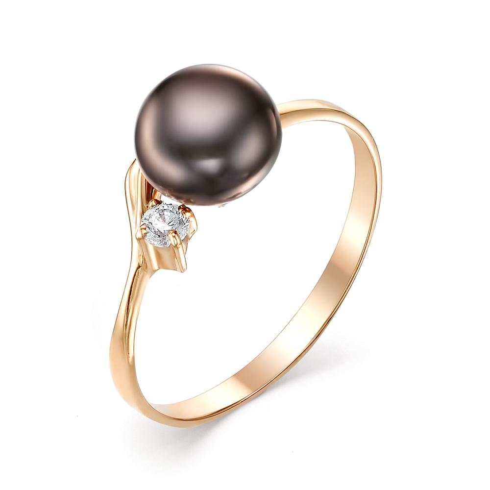 Золотое кольцо Жемчуг и Фианит арт. 21006A2 21006A2