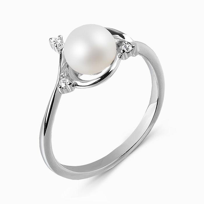 Серебряное кольцо Жемчуг и Фианит арт. 03285 03285