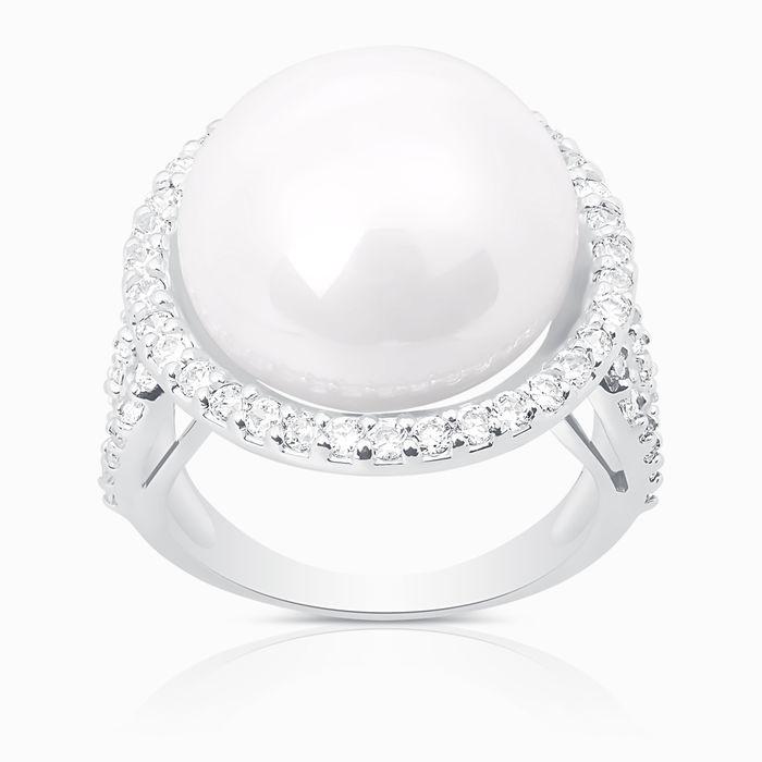 Серебряное кольцо Жемчуг и Фианит арт. 03199 03199