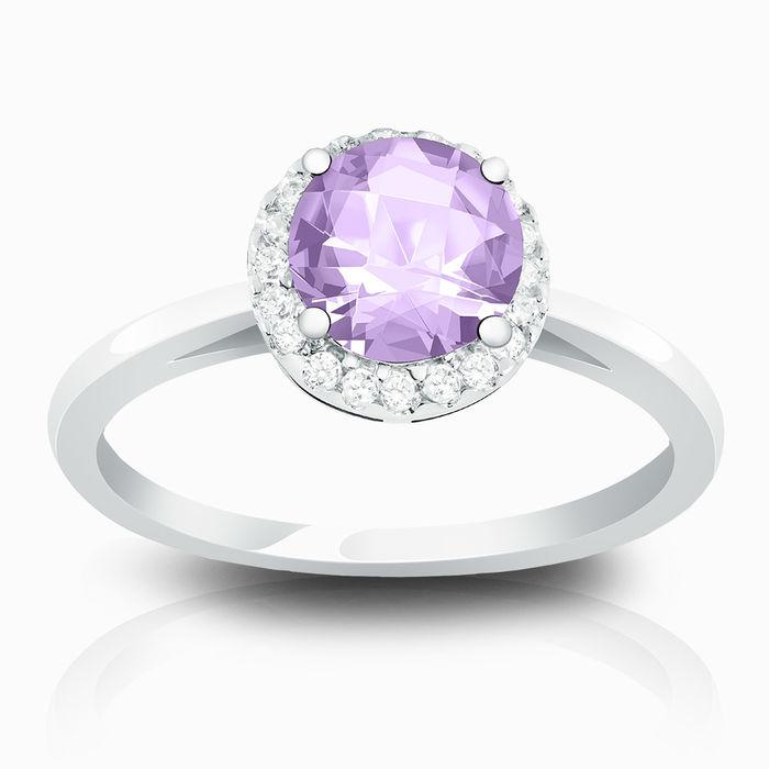 Серебряное кольцо Аметист и Фианит арт. 01710 01710