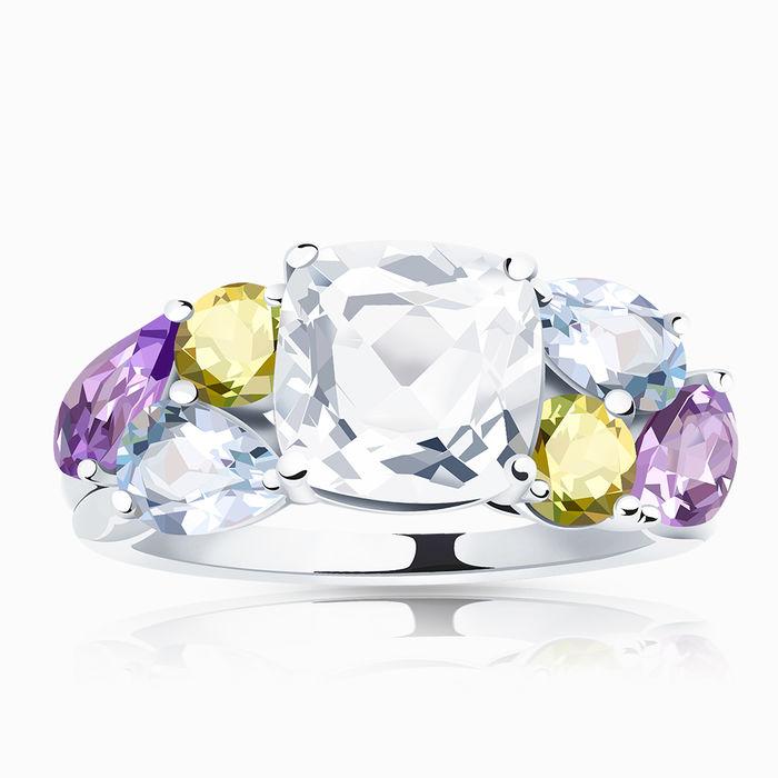 Серебряное кольцо Аметист, Топаз, Фианит и Хризолит арт. 01672 01672