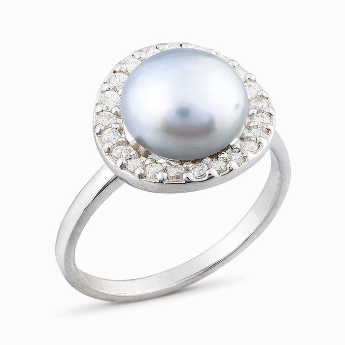 Серебряное кольцо Жемчуг и Фианит арт. 05416 05416