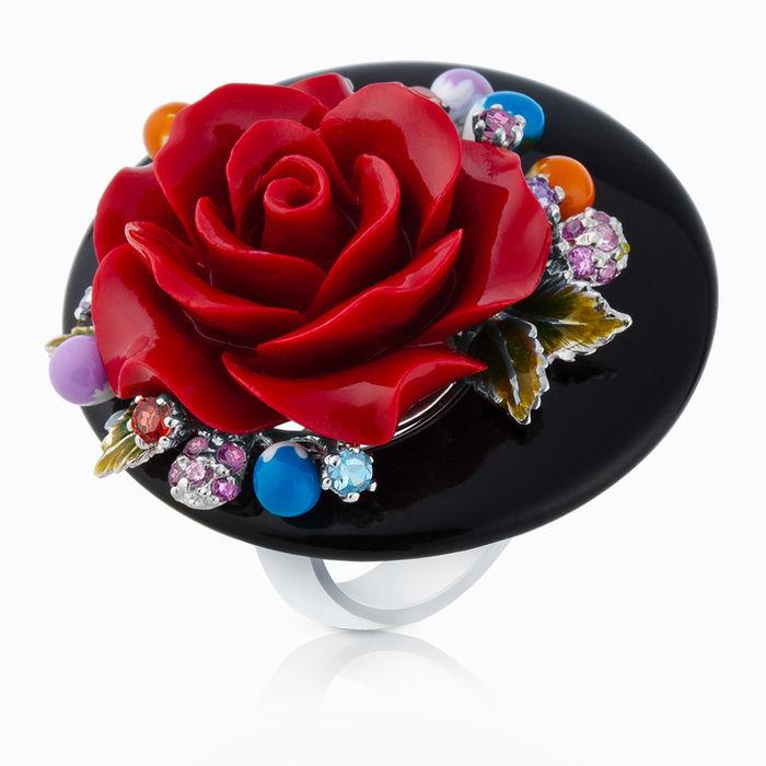 Серебряное кольцо Коралл, Оникс, Фианит и Эмаль арт. 03384 03384