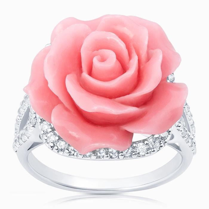 Серебряное кольцо Коралл и Фианит арт. 04211 04211