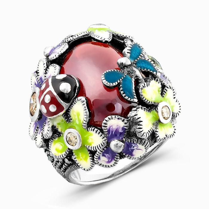 Серебряное кольцо Агат, Прочие, Фианит и Эмаль арт. 02471 02471