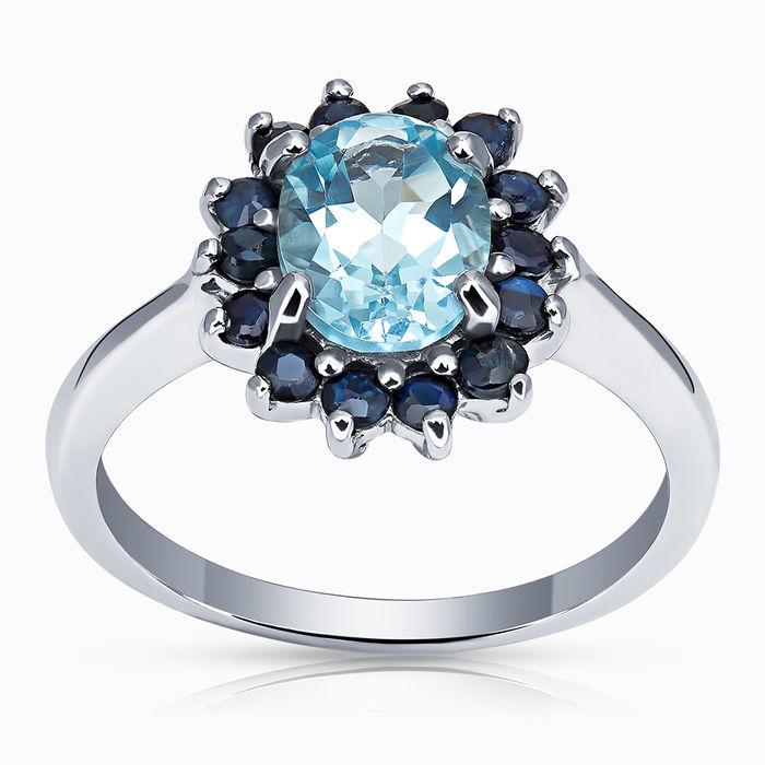 Серебряное кольцо Сапфир и Топаз арт. 02874 02874